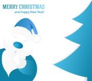 Fundo azul Santa Claus do Natal com uma árvore de Natal Imagens de Stock Royalty Free