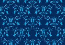 Fundo azul sem emenda do damasco Imagens de Stock Royalty Free