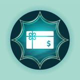 Fundo azul sunburst vítreo mágico dos azul-céu do botão do ícone do sinal de dólar do vale-oferta ilustração do vetor