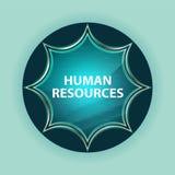 Fundo azul sunburst vítreo mágico dos azul-céu do botão dos recursos humanos ilustração do vetor