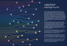 Fundo azul tecnologico abstrato com elementos coloridos do microchip Textura do fundo da placa de circuito ilustração stock