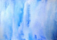 Fundo azul tirado mão da aquarela textured abstrata fotografia de stock royalty free
