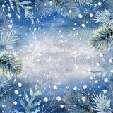 Fundo azul tirado mão do inverno da aquarela fotos de stock