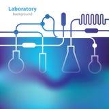 Fundo azulado abstrato do laboratório. Imagem de Stock