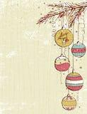 Fundo bege do Natal com esferas do Natal Fotografia de Stock