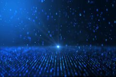 Fundo binário azul gerado por computador do conceito do mundo de Digitas ilustração stock