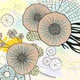 Fundo bonito acrílico da aquarela do círculo Fundo de tela em linha Arte popular natural Contraste a tela das folhas e das flores ilustração royalty free