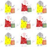 Fundo bonito com os elefantes com sacos de compras Imagem de Stock Royalty Free