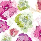 Fundo bonito com pássaros e flores Imagem de Stock