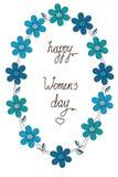 Fundo bonito com teste padrão de flores azuis Imagens de Stock