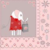Fundo bonito com um elefante em um vestido Fotografia de Stock Royalty Free