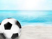 Fundo bonito da água da areia da bola da bola de futebol 3D do futebol da praia Fotos de Stock Royalty Free