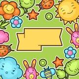 Fundo bonito da criança com garatujas do kawaii Coleção da mola de personagens de banda desenhada alegres sol, nuvem, flor, folha ilustração do vetor