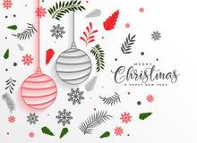 Fundo bonito da decoração das folhas e das bolas do Feliz Natal ilustração do vetor