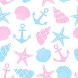 Fundo bonito da vida marinha Teste padrão sem emenda náutico com estrela do mar, shell, âncora no fundo branco Imagem de Stock