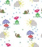 Fundo bonito do estilo dos desenhos animados das rãs, dos caracóis e dos cogumelos Fotografia de Stock Royalty Free