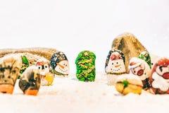 Fundo bonito do Feliz Natal e do ano novo feliz no fundo branco Fotos de Stock Royalty Free