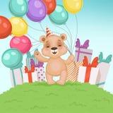 Fundo bonito do urso O brinquedo engraçado do urso de peluche para as crianças que sentam ou que estão o aniversário ou os presen ilustração stock