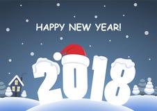 Fundo bonito dos desenhos animados - ano novo feliz 2018 Foto de Stock