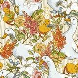 Fundo bonito sem emenda com patos e flores Imagens de Stock Royalty Free