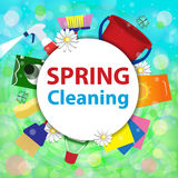 Fundo borrado com bolhas de sabão Serviço co da limpeza da primavera ilustração royalty free