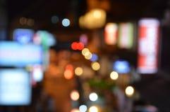 Fundo borrado da cidade da noite com luz do círculo conceito dos fundos do borrão Fotografia de Stock Royalty Free