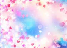 Fundo borrado do dia de Valentim Ilustração dos corações Fotografia de Stock