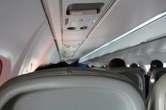 Fundo borrado do interior do avião Fotos de Stock Royalty Free