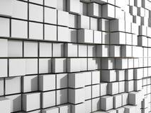 Fundo branco abstrato da parede dos cubos Imagens de Stock