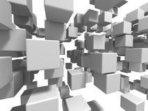 Fundo branco abstrato da parede dos cubos Imagens de Stock Royalty Free