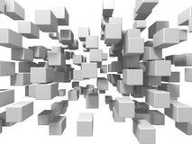 Fundo branco abstrato da parede dos cubos Foto de Stock
