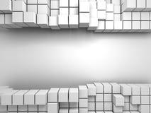 Fundo branco abstrato da parede dos cubos Fotografia de Stock Royalty Free