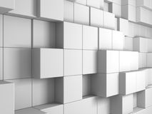 Fundo branco abstrato da parede dos cubos Foto de Stock Royalty Free