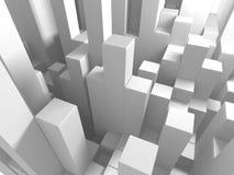 Fundo branco abstrato da parede dos cubos Imagem de Stock
