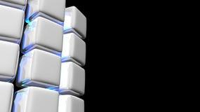 Fundo branco abstrato do cubo com luz azul Fotos de Stock
