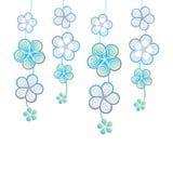 Fundo branco com flores decorativas Ilustração Stock