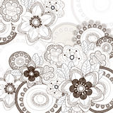 Fundo branco com flores marrons Fotografia de Stock