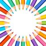 Fundo branco com lápis coloridos ilustração do vetor
