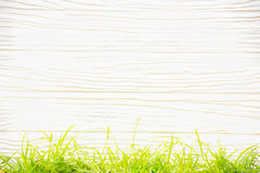 Fundo branco com teste padrão horizontal e grama verde abaixo Apropriado para incorpore o texto ao meio Foto de Stock Royalty Free