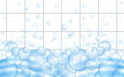 Fundo branco das telhas de mosaico com flutuação das bolhas de sabão Anúncios dos líquidos de limpeza do banheiro ou da cozinha V ilustração do vetor