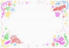Fundo branco do carnaval com garatujas das máscaras, dos confetes e das estrelas na parte superior Imagem de Stock Royalty Free