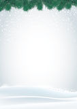 Fundo branco do Natal com pinheiro e neve Fotografia de Stock