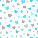 Fundo branco do teste padrão sem emenda com corações do azul e da prata projete para o cartão do feriado e o convite do bebê Foto de Stock