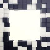 Fundo branco e preto cúbico com furo no centro ilustração 3D Fotos de Stock