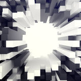Fundo branco e preto cúbico com furo no centro ilustração 3D Foto de Stock