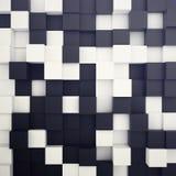 Fundo branco e preto cúbico ilustração 3D Imagens de Stock Royalty Free