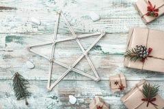 Fundo branco Espaço para a mensagem do ` s de Santa Cartão do Natal, Natal, ano novo e Xmas Fotografia de Stock Royalty Free