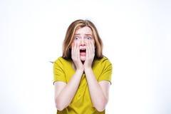Fundo branco isolado chocado da menina retrato adolescente Fotografia de Stock