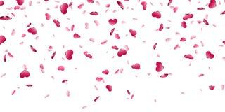 Fundo branco isolado confetes de queda do coração Cora??es cor-de-rosa da queda Decora??o de Valentine Day Projeto do elemento do ilustração stock