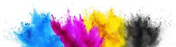 Fundo branco isolado da cópia da explosão do pó da cor da pintura do holi de CMYK conceito chave amarelo magenta ciano colorido foto de stock